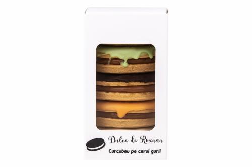Biscuiti umpluti cu crema caramel si glazurati cu 5 tipuri de ciocolata
